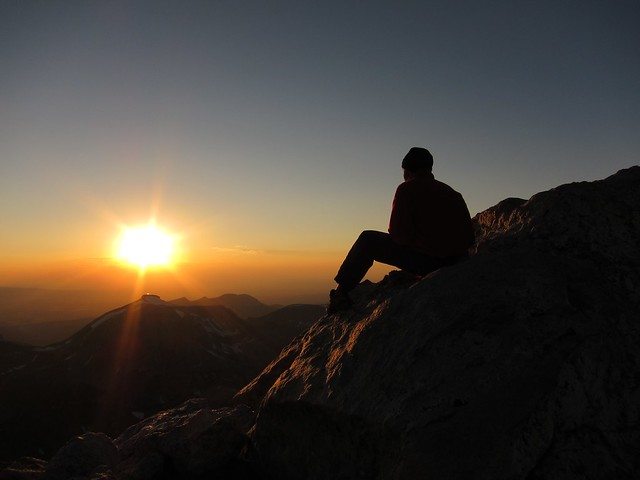 Douglas watching the sunset from the Lower Saddle