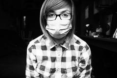 hey, smoke pollution (countyourlies) Tags: portrait blackandwhite bw selfportrait girl shirt glasses mask room smoke pollution flannelshirt canon40d