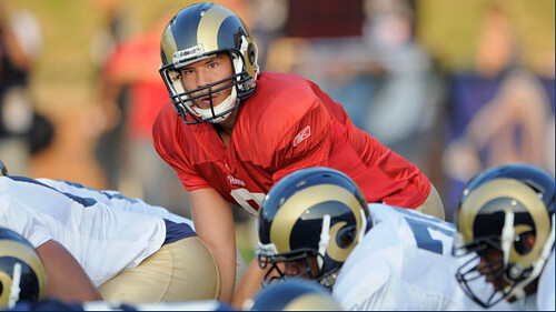 Sam Bradford under center; photo by Stlouisrams.com