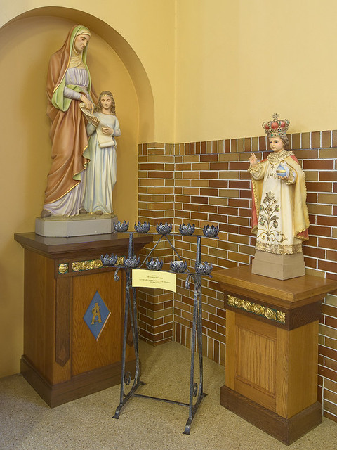 Saint Anthony Roman Catholic Church, in Lemay, Missouri, USA - Statues of Saint Anne and the Infant Jesus of Prague