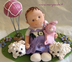 Cake topper - Veronica's Baptism (marytempesta) Tags: dogs polymerclay brides weddings grooms westies caketoppers weddingcaketoppers bridesandgrooms baptismcaketoppers
