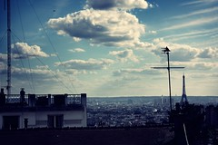 over the roofs of paris (donchris!) Tags: roof sky panorama paris france tower les clouds frankreich torre tetto tour view himmel wolken du eifel explore ciel cielo nubes vista nuages toit dach francia vue eifelturm ausblick pars parigi  widok  cubierta nubi dcher pary chmury niebo francja cubiertas