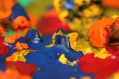 Color mess (GerardoDeSantiago) Tags: blue red orange color macro up yellow canon fire colorful close melt usm crayon gera fail 500d canon100mmf28 project365 ooy t1i