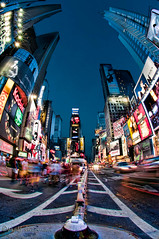 Blue Hour Times Square New York City (MattSherman) Tags: new york city nyc newyorkcity longexposure blue motion square nikon neon manhattan fisheye hour timessquare times bluehour 105 theatredistrict mywinners mattsherman nikond300s