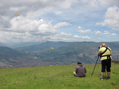 Christine captures the paragliders in action.