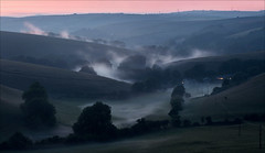 Dorset Smokies (Tony Gill) Tags: sunset cloud mist weather rural landscape chalk dusk hills dorset climate
