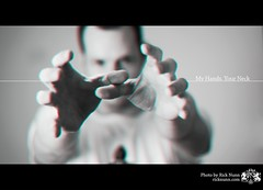 My Hands, Your Neck (Rick Nunn) Tags: white black self project 3d hands dof 50 strobist p502 p502010