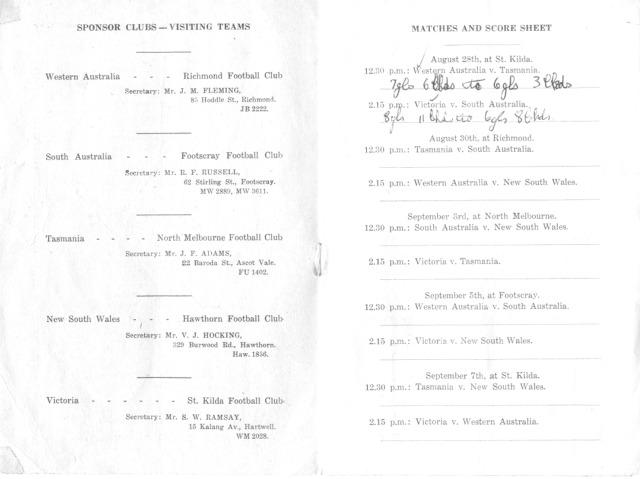 1951 score sheet