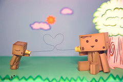 just wanna tell u that I LOVE YOU~ (achew *Bokehmon*) Tags: sky cloud sun anime tree love grass toy robot amazon phone heart box cartoon mini valentine string shout danbo  danboard
