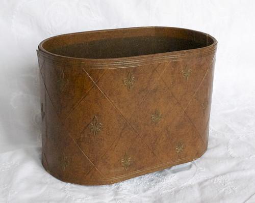 Vintage Bin with Fleur de Lis pattern