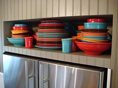 Fiesta Overflow (Photography by Jen) Tags: fiesta fiestaware cottagekitchen fiestadisplay fiestawaredisplay fiestastorage fiestawarestorage