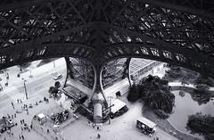 Eiffel Leg (harragan) Tags: people paris france tower view leg eiffeltower down eiffel olympustrip35