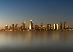 M e t r o p o l i s (Lee Sie) Tags: california city blue sunset moon water night marina bay downtown cityscape sandiego