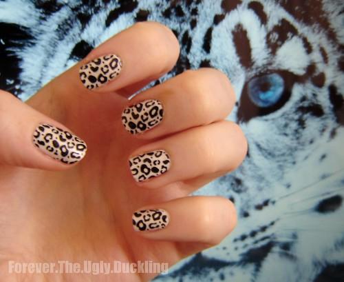 Snow Leopard Nails using Konad