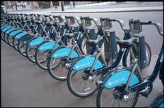 Boris bikes (Alistair Haimes) Tags: blue london film bike bicycle geometry bikes rangefinder olympus bicycles boris portra embankment barclays 35rc 160nc borisjohnson borisbikes gettyimagesuklocation