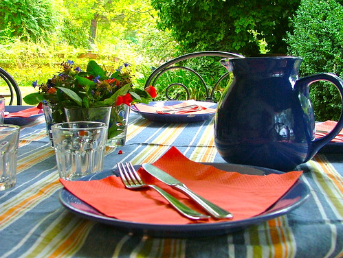 Tablescape in Blue & Orange