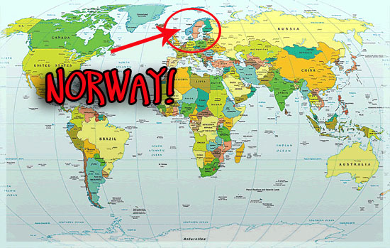 Norway World Map Uptowncritters - Norway map world