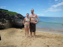 Aaron and me at the shark attack beach