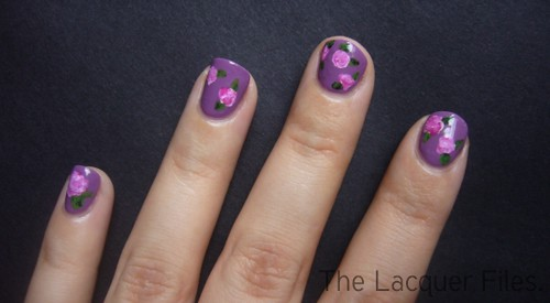 Roses Nail Art Design Freehand
