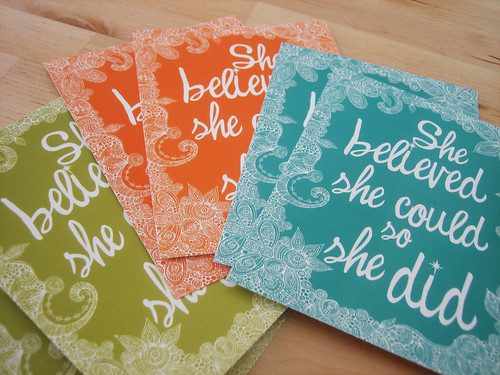 She believed set of 6 flat cards