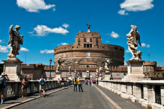 Castel Sant'Angelo (LimeWave Photo) Tags: city travel italien bridge blue sky italy rome roma angel movie italia capital statues ponte rom castel castelsantangelo lazio rm angelsanddemons pontesantangelo romanbridges aelius aelian limewave