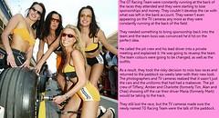 Pit crew babes (Jenni Makepeace) Tags: fetish transformation magic tgirl sissy caption captions mtf feminisation tgcaptions tgcaption