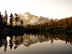 Morning Glory | Mount Shuksan (stephenandjes) Tags: mountain lake reflection sunrise canon golden washington powershot alpine cascades whitebalance goldenhour shuksan artistpoint mtshuksan douglasfir mountshuksan picturelake 542 mywinners s5is tripleniceshot