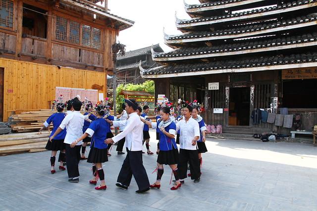 Dong folk culture show in Chengyang, Guangxi, China