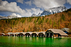 "Knigssee ""King's Lake"" (Sergiu Bacioiu) Tags: house mountain lake snow mountains alps color reflection nature water clouds port germany landscape bayern bavaria berchtesgaden nationalpark cabin woods colorful outdoor tourist alpine alpen boathouse deu cabins knigsee knigssee kingslake nationalparkberchtesgaden berchtesgadennationalpark knigsseelake schnauamknigssee"