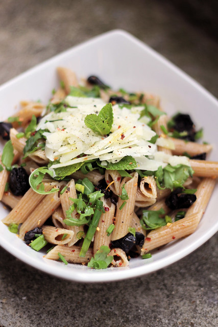Pecorino Cheese, Rocket and Black Olives Kamut Penne
