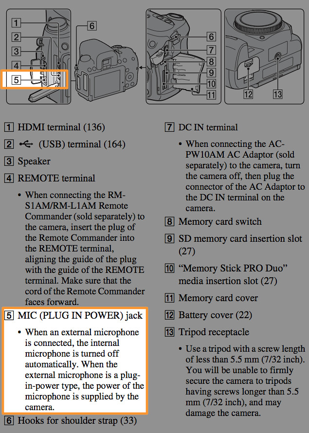 Location of the microphone jack, illustrated on page 17 of the Sony A580 Manual