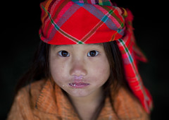 Flower Hmong kid - Vietnam (Eric Lafforgue) Tags: girl kid asia north tribal vietnam viet asie tribe sapa hmong headdress headwear vietname headgear  wietnam    vietnam5693 moinorities