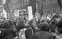 Student Protest 29th January 2011 (Nicholas Middleton) Tags: london 35mm demo hp5 rodinal blackandwhitephotography studentprotest standdevelopment yashicaelectro35gt feesprotest 290111