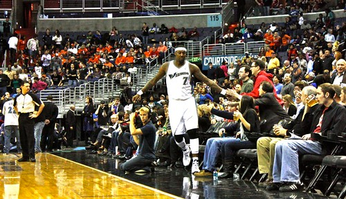 washington wizards, atlanta hawks, nba, february 5th, 2011, truth about it, adam mcginnis, andray blatche, fans, fist bump