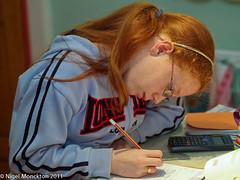 Naomi doing her homework