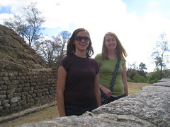 Ruth Maust and Suzanne Opel in front of Mayan ruins