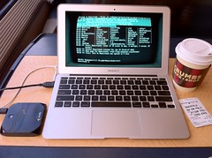 doing some modern-day computing on the train to New York (blakespot) Tags: vintage crt mac air tube shell terminal retro monitor pixel ssh irc telnet cathode pixellated scanlines macbook cathodeapp