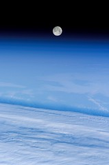 'Snow Moon' Over Earth (NASA, International Sp...