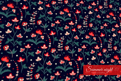Summer night (Slanapotam) Tags: dark black pattern design surfacedesign patterndesign slanapotam flower floral floralpattern seamlesspattern endless repeating repetition red teal