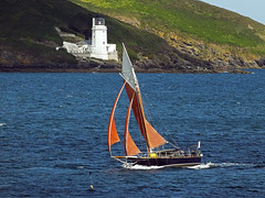 Passing St Anthony Lighthouse (Cornishcarolin. Thank you for over 2 Million Views) Tags: cornwall falmouth frompendennispoint riverfalestuary stanthonylighthouse fragglerock yachts boats water 1001nights 1001nightsmagiccity