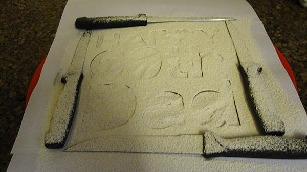 powder-oats on stencils