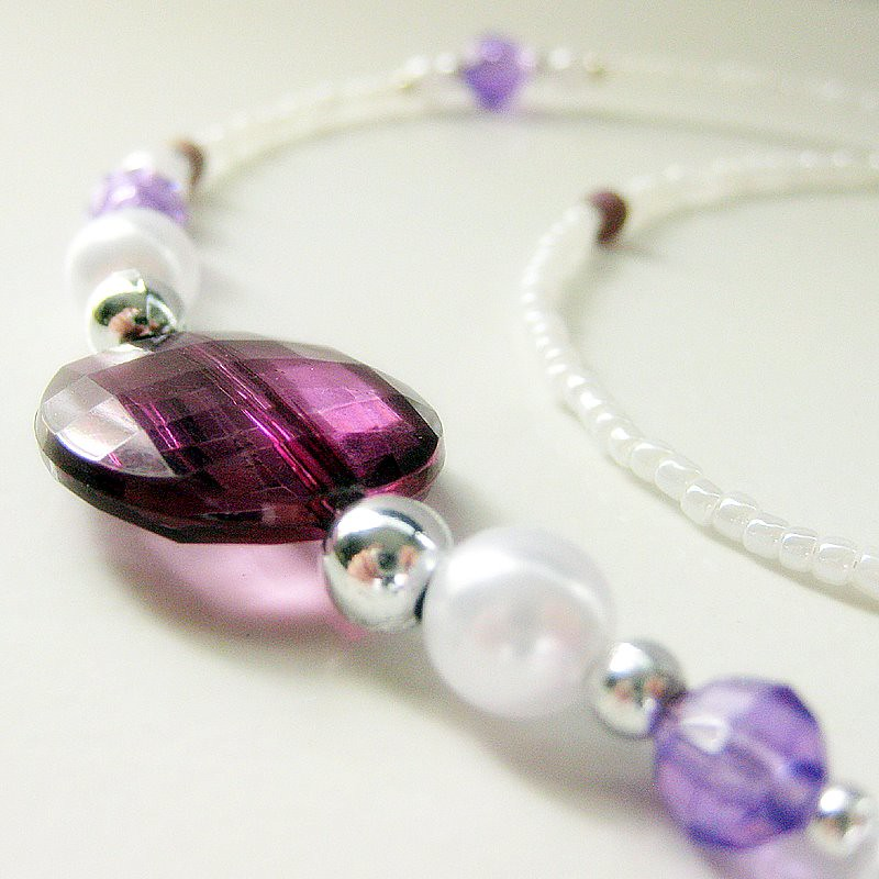 Succulent Purple and White Pearl Badge Lanyard