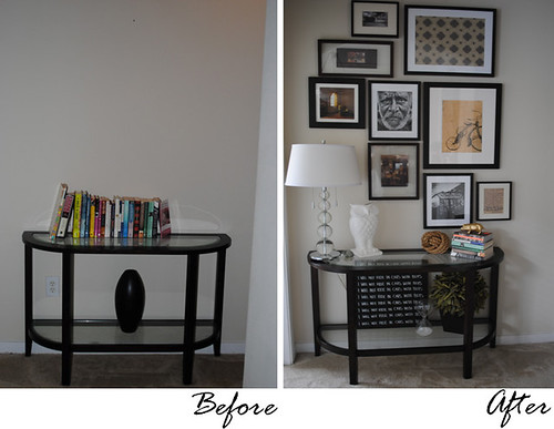 console table before and after