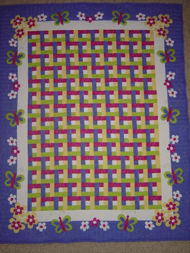 Butterfly Flower Lattice Baby Quilt