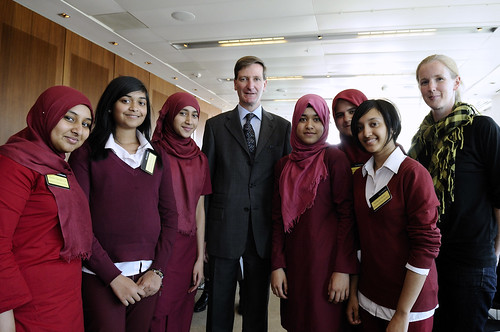 Students from Mulberry School for Girls with the Attorney General