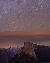 Midnight Sky over Half Dome, Yosemite National Park (Tyler Westcott) Tags: longexposure night nationalpark nps explore yosemite halfdome startrails yosemiteblog washburnpoint tenayacanyon nikond90