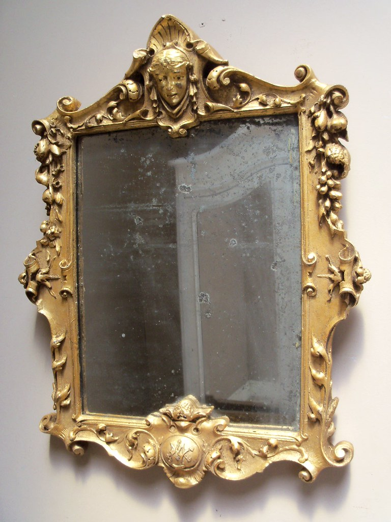 french antique gilded decorative mirror