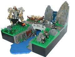 Ambush At Mirror Falls (tin) Tags: bridge plants water field modern waterfall rocks lego hey hidden swamp ba hay bf troops trap bait mecha mech itsatrap rocketlauncher brickarms brickforge