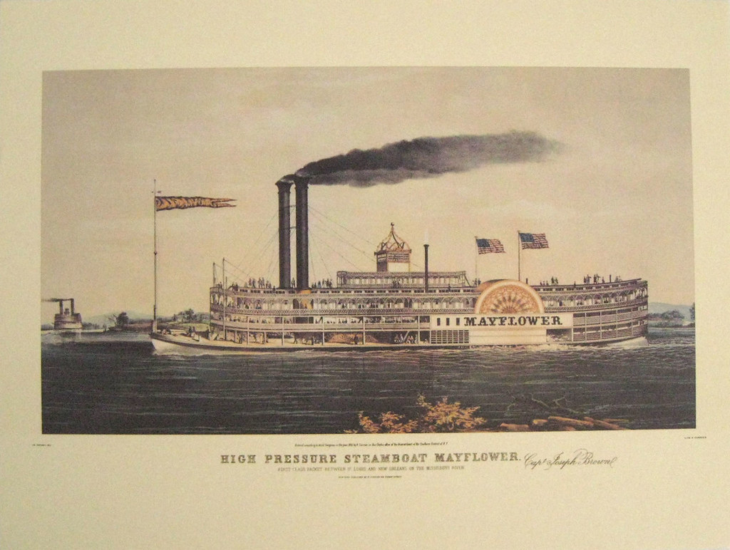 Vintage Currier Art Print Mayflower Steamboat Americana Boat Nautical