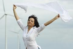 white veil (wunderskatz) Tags: portrait woman white plant windmill girl standing energy hungary power veil wind blowing blow clean manikin renewable kisigmand